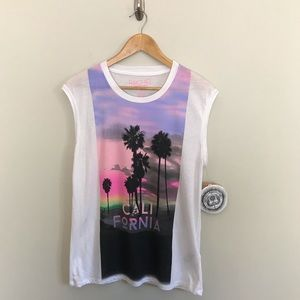 NEW Rachel Roy Neon California Palm Tree T-Shirt